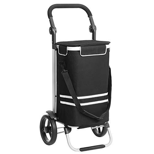 SONGMICS Einkaufstrolley, klappbar, stabiler Einkaufswagen, mit Kühlfach, große Kapazität 35 L, multifunktional, Handwagen mit Rollen, abnehmbare Tasche, schwarz KST03BK