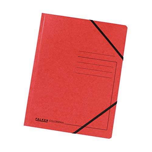 Original Falken 5er Pack Premium Eckspanner-Mappe. Made in Germany. Aus extra starkem Colorspan-Karton DIN A4 mit 2 Gummizügen rot Sammelmappe Dokumentenmappe ideal für Büro und Schule