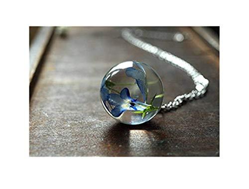 Blauwe bol ketting, blauwe bloem hars hanger, hars sieraden, Terrarium ketting, pure handgemaakte