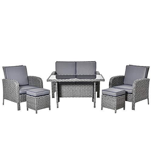 Outsunny Conjunto de Muebles de Jardín 6 Piezas de Ratán con Mesa de Centro Sofá Doble 2 Sillones Individuales 2 Taburetes con Cojines para Patio Porche Terraza Gris