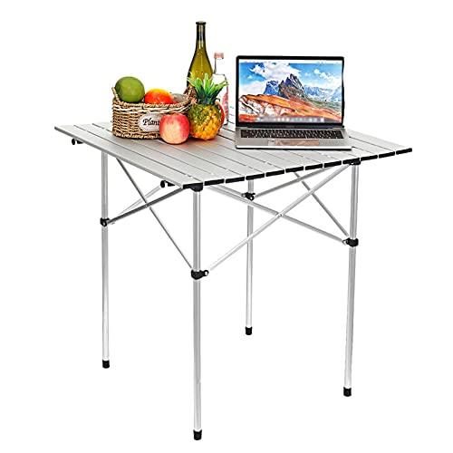 HEcSHENG Mesa De Picnic De Aluminio Plegable Cuadrada, Tapa Enrollable con Bolsa De Transporte para Mesas De Comedor Al Aire Libre para Acampar, Banquetes, Fiestas De Picnic