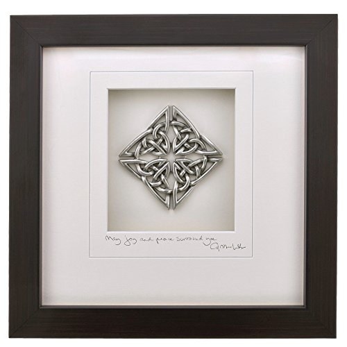 Cynthia Webb Designs Celtic Knot, Diamond 'May Joy and Peace Surround You' - Framed Pewter 9'x9' Dark Espresso Finish Wood Frame – Handcrafted in the USA