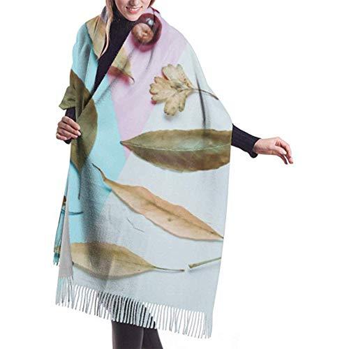 Archiba Winter Schal Cashmere Feel Yellow Red Fallen Leaves Kastanien auf Schals Stilvolle Schal Wraps Weiche warme Decke Schals für Frauen