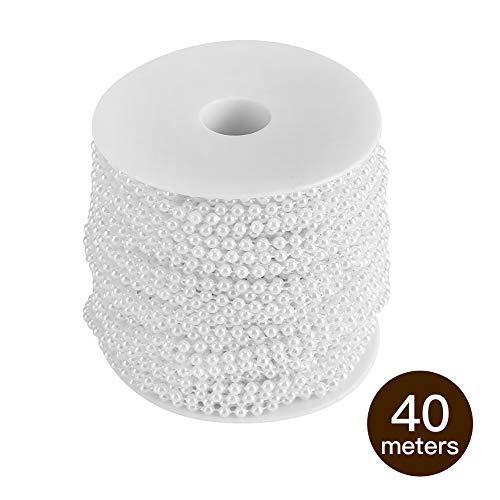 Yosoo - Filo con perle, lunghezza 40 metri, per decorazioni, fai da te, matrimonio, bianco