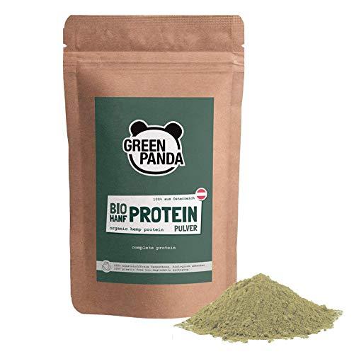 Hanfproteinpulver Bio mit 50% pflanzlichem Protein aus Österreich, Hanfpulver fein gemahlen Bio laborgeprüft & zertifiziert, perfekt geeigent als veganes Proteinpulver, 500g von Green Panda