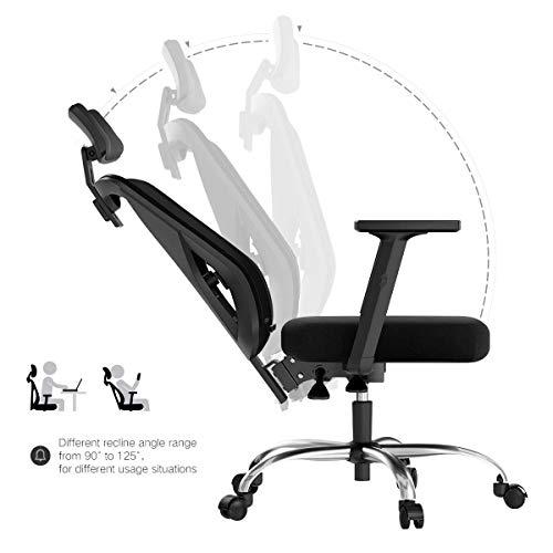 Hbada Ergonomic Office Desk Chair with Adjustable Armrest, Lumbar Support, Headrest and Breathable Skin-Friendly Mesh, Black