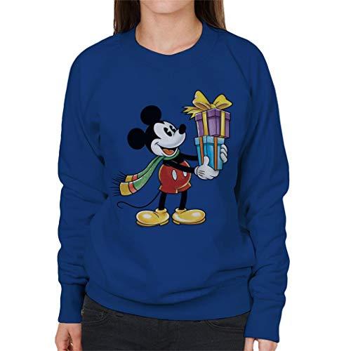 Disney Christmas Mickey Mouse Bow Atado Presents - Sudadera para mujer Azul azul real S