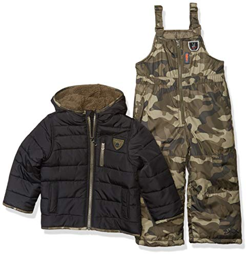 Skechers Boys' Toddler 2-Piece Heavyweight Snowsuit, Black and Olive Camo Print, 2T