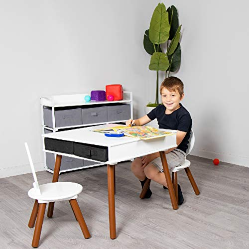 Milliard Kids Mid Century Modern Table and Chair Set Wooden with Storage Baskets, Activity Playset Furniture - for Kids and Toddlers