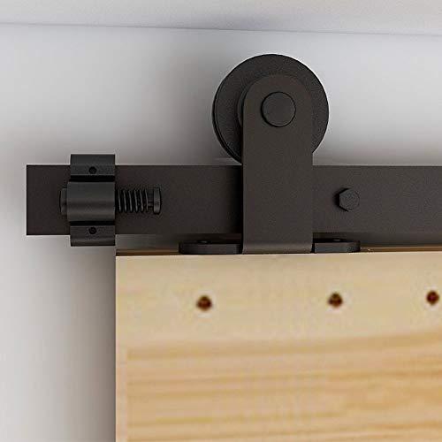 6FT/182cm Interior Sliding Barn Wood Door Hardware Closet Track T Shape Hangers Kit Single Door