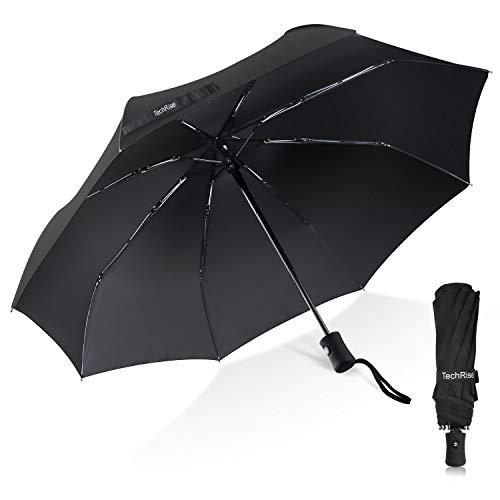 Ombrello Pieghevole, TechRise Ombrello Portatile Automatico Antivento Compatto Resistente Leggero con 8 Stecche Rinforzate in Teflon, ombrellino per passeggino universale per uomini e donn