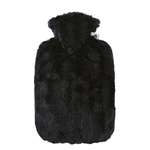 Hot Water Bottle with Cover - Hot Cold Pack Made of Burst Resistant Thermoplastic with Fleece Sleeve Helps Relieve Muscle Aches & Pains, Menstrual Cramps (1.8 L Faux Fur, Black)