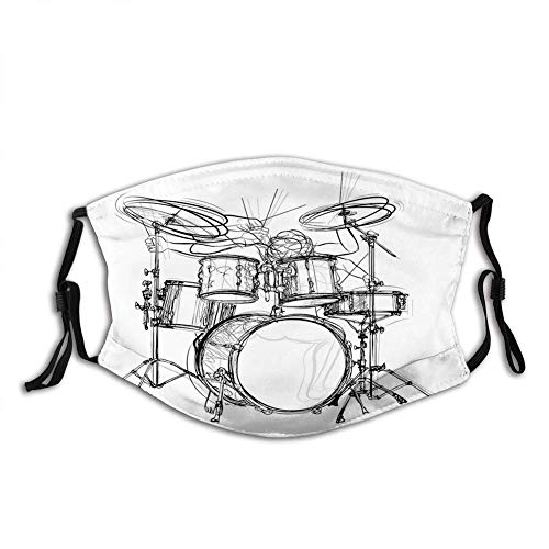 Rockmusik, Doodle Drawing Sketch Style Schlagzeuger Musikalische Inspirationen Monochrome Anordnung, White Black Dust Wiederverwendbarer Filter Cotton Face
