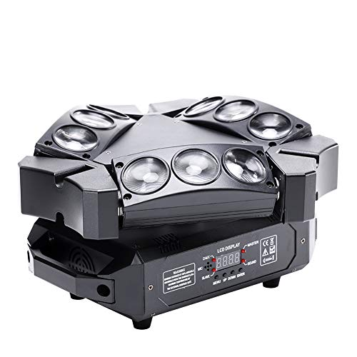 Spider Moving Head Light, U`King 9 Leds Heads X 10W RGB Stage Lighting Effect 12/19 Channels DMX-512 and Sound Activated Great for Wedding Disco Dj Party Lights