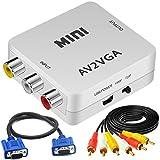 Bias&Belief Convertidor AV a VGA, CVBS Compuesto RCA a VGA Adaptador con Cables VGA y Cables RCA, Mini Conector para TV/Monitor/Proyector