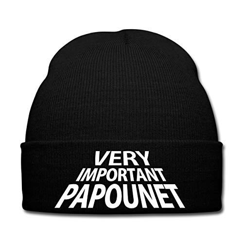 Spreadshirt Papa Very Important Papounet Bonnet d'hiver, Noir