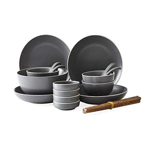 QTQZ Juegos de vajilla de vajilla Juego de Platos de Cena de cerámica Gris Juego de Platos de Servicio de vajilla Redondos para cocinar, Cocina, Cena