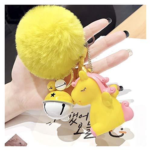 QH Bola De La Felpa Linda Bobbles Regalo Anillo De Llavero del Unicornio Llavero Pom Pom Imitación De Conejo Adornos For El Pelo Llave del Coche (Color : Yellow)