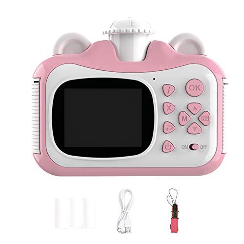 Canghai Niños Polaroid Cámara de impresión térmica de doble lente Fotografía deportiva Cámara de impresión instantánea para niños Lente giratoria 1080p HD Juguetes populares para niños Nuevo (rosa)