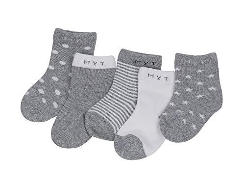 DEBAIJIA DEBAIJIA Baby Kinder Socken 5 in 1 Set Jugendliche Stricksocke Jungen Mädchen Baumwolle Bunt Elastisch Weich Grau - L