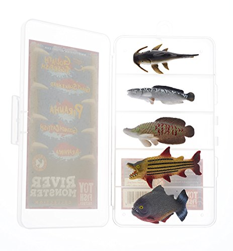 River Monster Collection Toy Fish Set | Fish Figurines | Fish Toys for Boys | Small Toy Fish | Goonch Catfish Snakehead Arapaima Tigerfish Piranha Monster Fish | by Toy Fish Factory