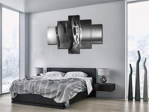 MengJing Painting Rahmen 5 Leinwand Wand Kunst Bilder Home Decor Gemälde 200 * 100 cm Schwarzweiss-Fotos der Retro-Filmrolle 5 Stück Leinwand gedruckt Ölgemälde Wandkunst Bild Poster Home Wohnzimmer