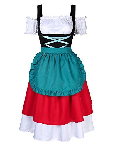 KOJOOIN Trachten Damen Dirndl Kurz - Midi Trachtenkleid für Oktoberfest - DREI Teilig: Kleid, Bluse, Schürze Rot-Blau 40/XL