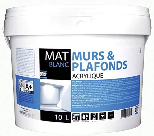 Peinture murs et plafonds Batir 1er - Boîte 2,5 l - Satiné - Blanc