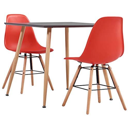vidaXL Juego de Comedor 3 Piezas Set Conjunto de Muebles Sillas Sofás Asientos Mesa Soporte Cocina Hogar Interior Sala Salón Casa Plástico Rojo