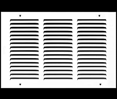 """14""""w X 12""""h Steel Return Air Grille - Sidewall and Ceiling - HVAC Vent Cover - White [Outer Dimensions: 15.75""""w X 13.75""""h]"""