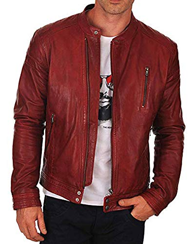 Cloudberry Mens Real Lambskin Racer Motorcycle Genuine Leather Jacket S Red