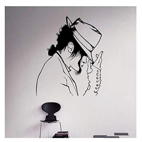 Michael Jackson Muster mit seinem Hut Dacing Wandaufkleber The King Of Pop Art Wandbild Entwickelt Vinyl Home cool Decor 57x65cm