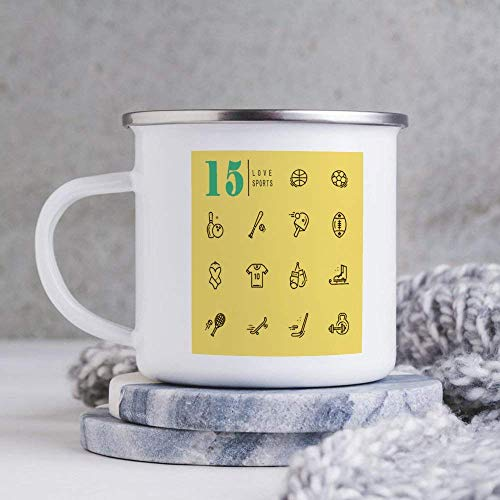N\A Taza de café esmaltada con Icono de línea Amarilla, patrón Lindo, Taza de té Duradera y Personalizada de 10 oz, Taza de Viaje para Esposo, papá, Abuelo, Abuela