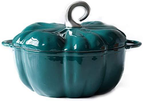 zyh 1 Pièce 24cm Pot à Soupe Casserole 3.76L Potiron en Fonte Émaillée Ragoût Bleu-Vert Orange