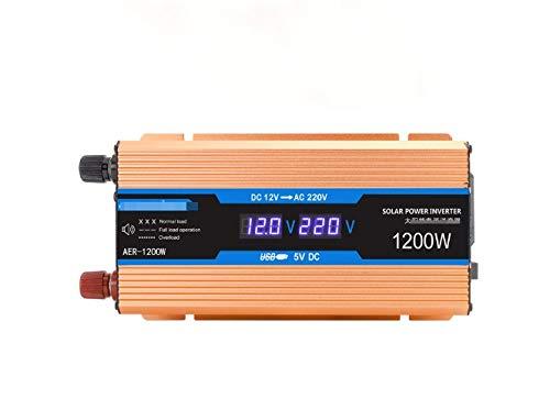 Inversor de automóvil 500W / 1200W / 1600W / 2200W, inversor de energía, inversor de energía solar de automóvil, tablero de alto rendimiento, pantalla LCD inteligente, interruptor de alimentación inde