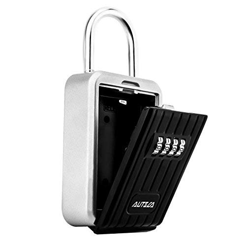 autsca Caja Fuerte Candado para llaves, Candado de Seguridad con Combinación 4 dígitos,Se puede colgar y se puede clavar en la pareds, Adecuada para el Hogar, el Garaje y la Granja,ect