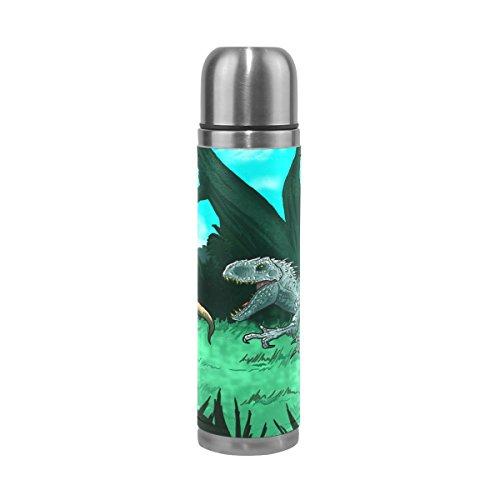 DragonSwordlinsu COOSUN Oude Dinosaurussen RVS Thermos Water Fles Vacuüm Geïsoleerde Beker Lek Bewijs Dubbele Vacuüm Fles, PU Lederen Reizen Thermische Mok, 17 oz