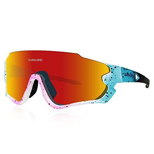 Queshark Polarisierte Sportbrille,Sonnenbrille Fahrradbrille,4 Austauschbare Linse,UV-Schutz Polarisierte Sportsonnenbrille für Baseball Wie Herren Autofahren Laufen Radfahren Angeln