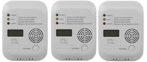 3er Set Smartwares Kohlenmonoxid Melder mit Display und Temperaturanzeige, Prüftaste, 370