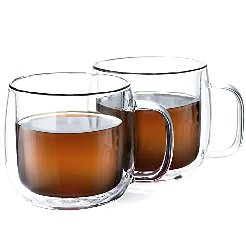 UNBREAKABLE Glass Coffee Mugs,300ml/10oz Double Walled Insulated Coffee Mugs Set of 2,Borosilicate Glass Coffee Cups,Espresso cups,Tea Cups,Perfect for Latte,Americano,Cappuccinos,Tea Bag