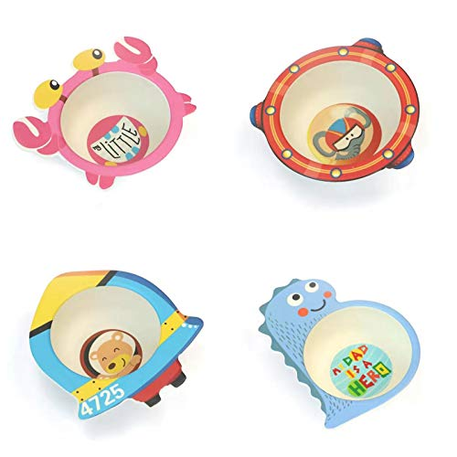 4Pcs Bamboo Bowls Tableware Creative Cute Cartoon Soup Bowl Rice Bowl Complementary Food Rice Bowl Drop-Proof Tableware Set