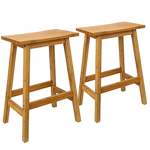 Leopard 24 Inch Bamboo Stools Classic Bamboo SaddleSeat Kitchen Counter Stools with Footrest Set of 2
