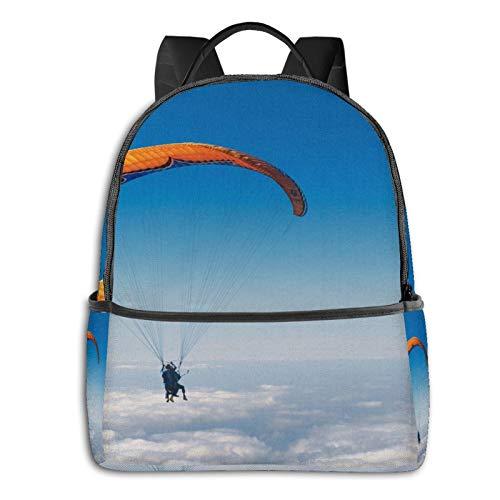 Rucksack Freizeit Damen Herren, Wolkenfliegenhimmel Fallschirm Luftsport Campus Kinderrucksack, Daypack Schulrucksack Sportrucksack Tablet Tasche 15,6 Zoll
