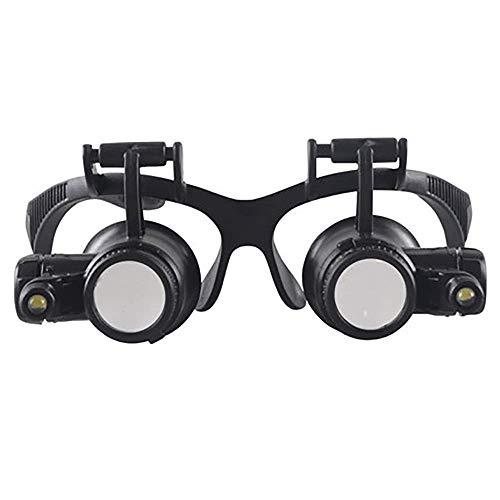 CKQ-KQ Glas Glas - Head-gemonteerde Vergrote Mirror HD met LED-licht mobiele telefoon Clock Repair Diamond Magnifier sieraden identificatie van een hoge vergrotingsfactor Bril Verrekijker Magnif