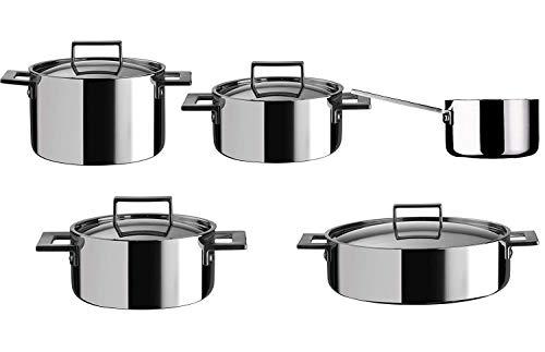 MEPRA Attiva Batteria, Kitchen, 9 Pezzi, Trimetallo Acciaio Inossidabile 18/10, Alluminio e Rame