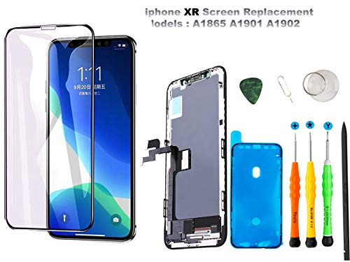Compatible with iPhone XR Screen Replacement YRYK LCD Digitizer Display Touch Screen Assembly Set with 3D Touch Display (Model No. A1984, A2105, A2106, A2108) (Black)