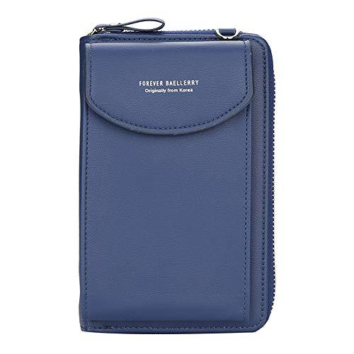 Ecosway Geldbörse für Damen, große Kartenfächer, Handtasche, einfarbig, diagonale Tasche, Multifunktions-Clutch mit Reißverschlusstasche, dunkelblau (Blau) - EB020200506A