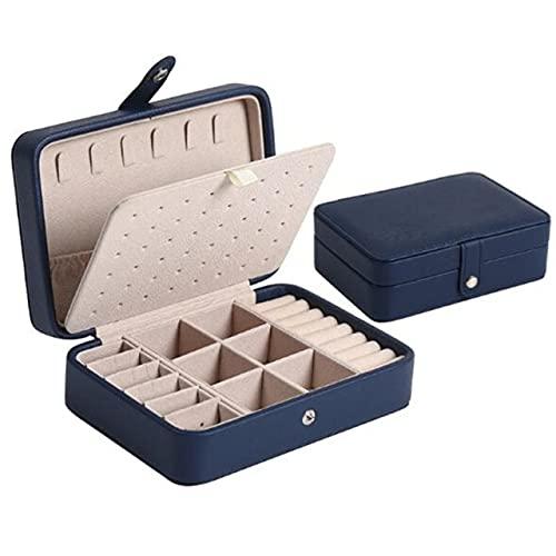 Joyero de viaje de piel sintética con botón para mujer, niña, caja de joyería portátil, pendientes de almacenamiento, collar, anillo