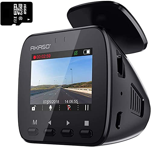 AKASO Wifi Dash Cam with GPS, 1296P Full HD Dash Camera for Cars with 16GB Memory Card Included Phone App 170° Wide Angle Super Night Vision Loop Recording G-Sensor Parking Monitor (V1)