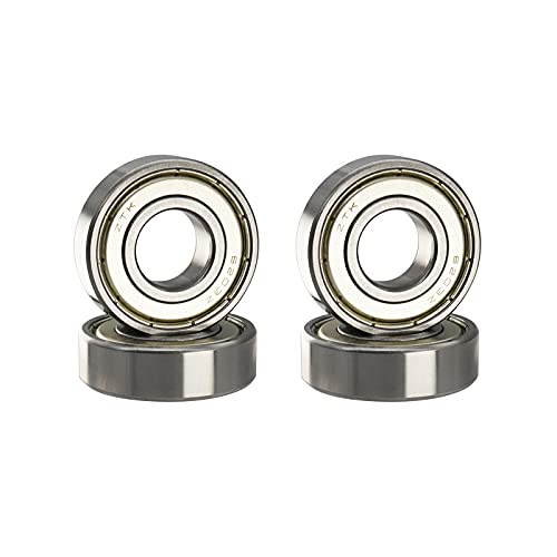ZTK 4 Pcs 6203 ZZ Ball Bearings, 17x40x12mm, Chrome Steel, ABEC-5, Double Metal Sealed, Pre-Lubricated, Deep Groove Ball Bearing